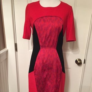 ETCETERA DRESS SHEATH KNEELENGTH RED BLACK PANEL 0